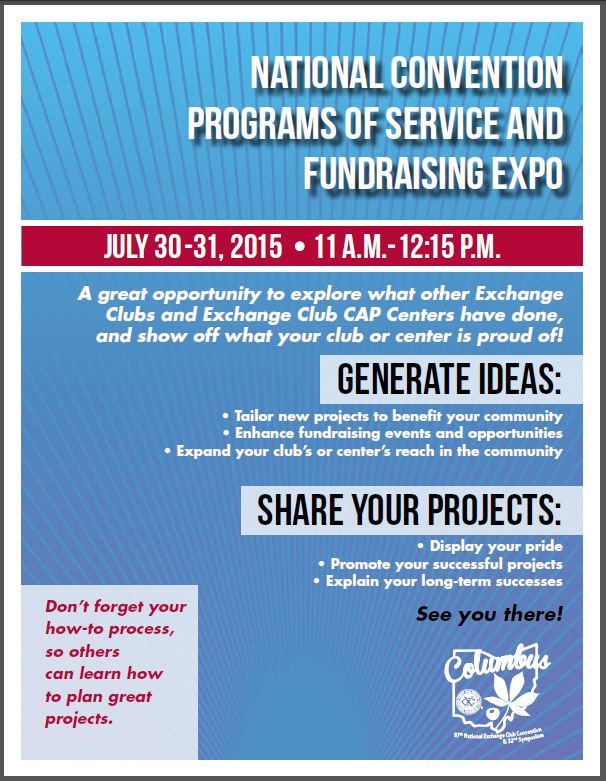 National Convention Programs of Service and Fundraising Expo