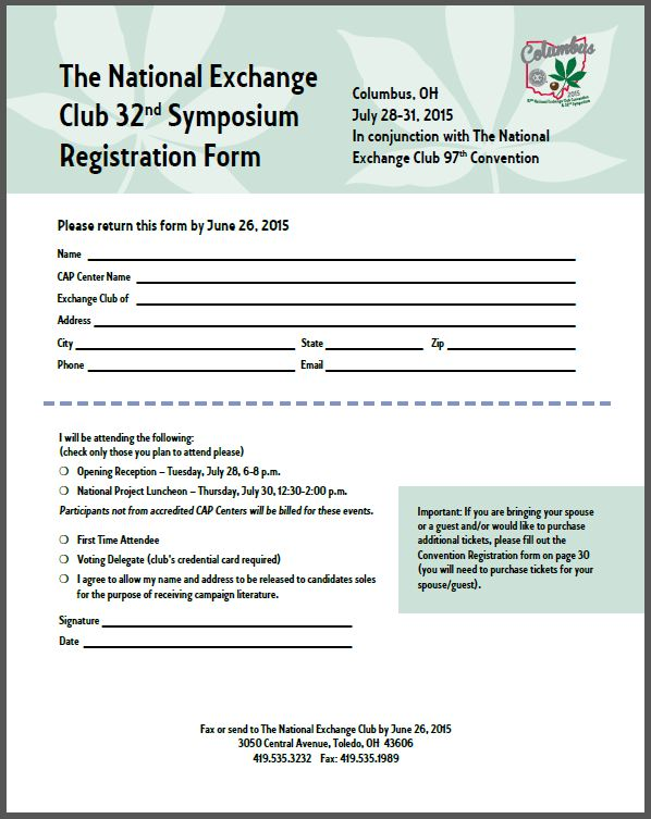 Symposium Registration Form